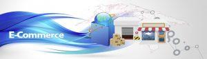 Illustrazione con elementi per la vendita online: negozio, scatole