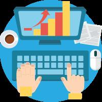 scrivania, computer, tastiera, mouse caffè e grafici per l'analisi dei dati