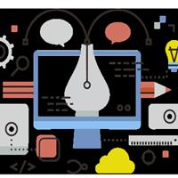illustrazione penna copywriter e simboli digitali