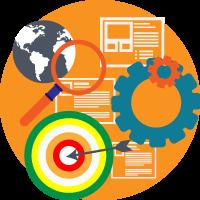 ottimizzazione siti web - primi sui motori - simboli (lente, globo terrestre, schermate web, freccia al centro)