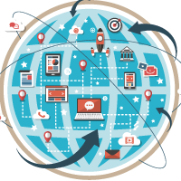 simboli per connessioni globali - social network