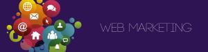 header con la scritta web marketing e simboli relativi