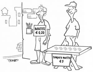 Venditori ambulanti, concorrenza tra matite e temperamatite