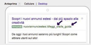 screenshot adwords in fase di inserimento - visualizzazione su smartphone di un annuncio di testo esteso