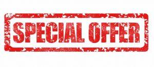 """scritta """"offerta speciale (special offer)"""" dentro ad un riquadro, colore rosso su sfondo bianco"""